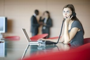 girl answering call