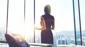 business woman and voip